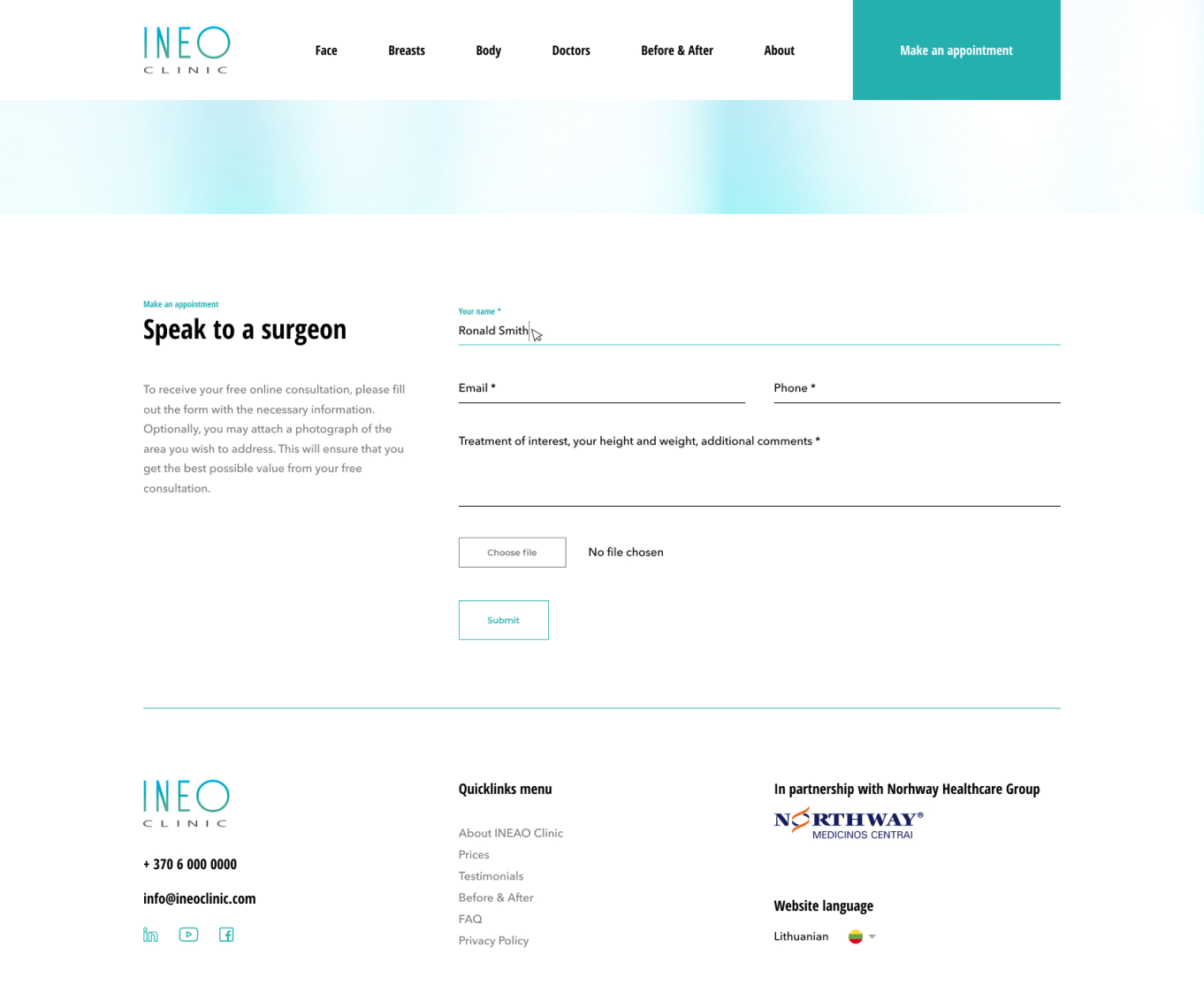 INEO Clinic website design file