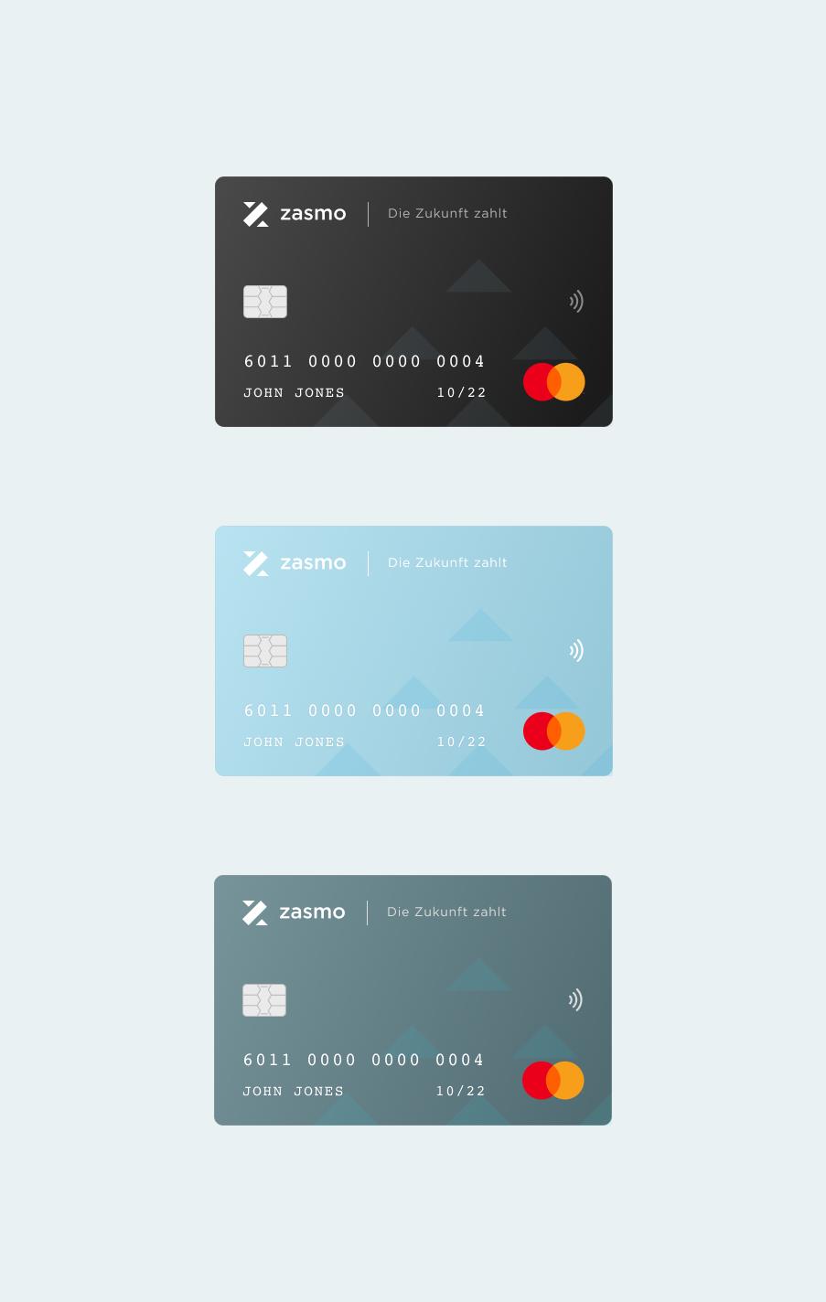 Zasmo project credit card designs